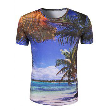 Men's Slim Fit Round Collar 3D Coconut Palm Printing T-Shirt