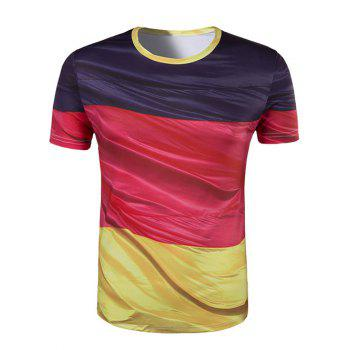 Men's Slim Fit Round Collar Color Block Printing T-Shirt