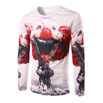 Men's Slim Fit Round Collar Mushroom Cloud Printing T-Shirt