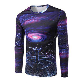 Men's Slim Fit Round Collar Commander Printing T-Shirt