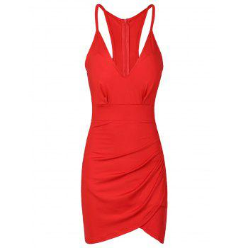 Sexy Solid Color Backless Spaghetti Strap Bodycon Dress For Women