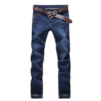 Rivets Embellished Straight Zipper Fly Denim Pants