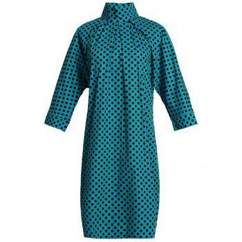 Chic 3/4 Sleeve Stand Collar Polka Dot Plus Size Women's Dress