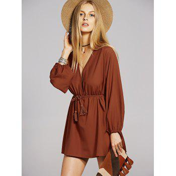 Bohemian Women's Plunging Neck Long Sleeve A-Line Dress