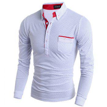 Stylish Turn-dwon Collar One Pocket Polka Dot Print Long Sleeves Polyester Polo Shirt For Men - WHITE M