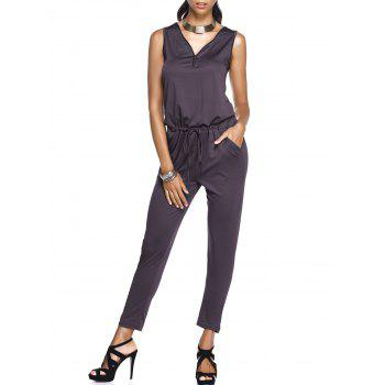 Pocket Design Drawstring Stylish Zipper Embellished Women's Jumpsuit