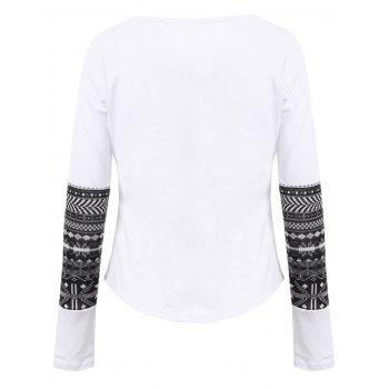 Brief Long Sleeve Scoop Collar One Pocket Design Printed Women's T-Shirt - WHITE S