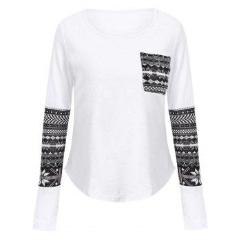 Brief Long Sleeve Scoop Collar One Pocket Design Printed Women's T-Shirt