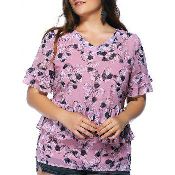 Sweet Plus Size Flounced Floral Print Layered Women's Blouse - PINK 4XL