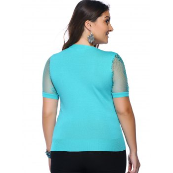 Chic Plus Size Hollow Out Knitted Solid Color Women's Blouse - ONE SIZE(FIT SIZE L TO 3XL) ONE SIZE(FIT SIZE L TO 3XL)