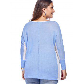 Chic Plus Size High-Low Hem Color Block Knitted Women's Blouse - ONE SIZE(FIT SIZE L TO 3XL) ONE SIZE(FIT SIZE L TO 3XL)