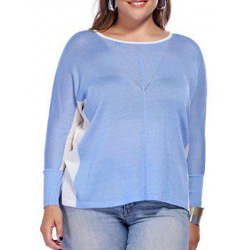 Chic Plus Size High-Low Hem Color Block Knitted Women's Blouse