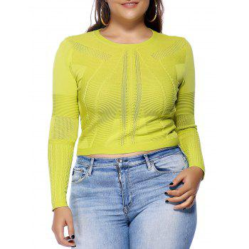 Chic Plus Size Solid Color Hollow Out Women's Knitwear - YELLOW YELLOW