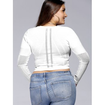 Chic Plus Size Solid Color Hollow Out Women's Knitwear - WHITE WHITE