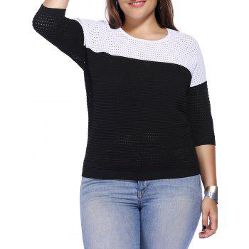 Chic Plus Size Hollow Out Hit Color Women's Knitwear