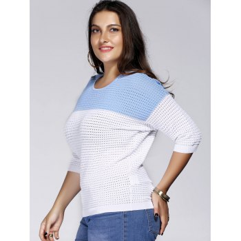 Chic Plus Size Hollow Out Hit Color Women's Knitwear - LIGHT BLUE LIGHT BLUE