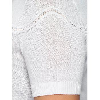 Chic Plus Size Spliced Slimming Solid Color Women's Knitwear - WHITE WHITE