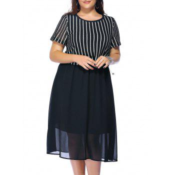Plus Size Striped Flowy Tea Length Dress