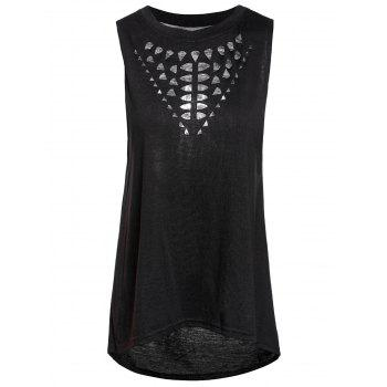 Stylish Round Collar Hollow Out High-Low Hem Women's Tank Top
