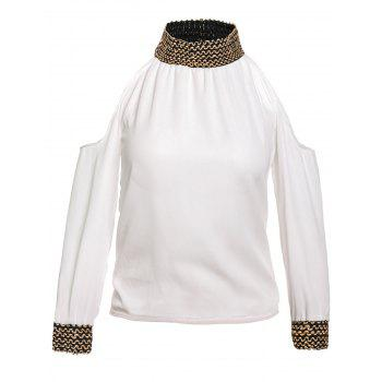 Stylish Round Neck Sequins Embellished 3/4 Sleeve Women's Chiffon Blouse - WHITE M