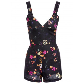 Casual Women's Plunging Neckline Sleeveless Floral Print Romper