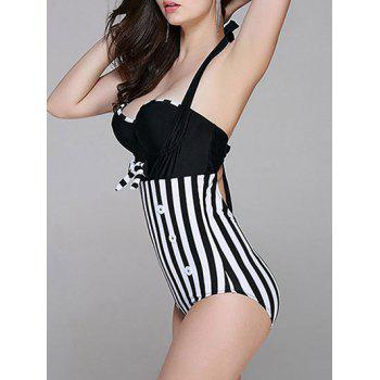 Fashionable Women's Halter Striped Cut Out One-Piece Swimsuit - BLACK XL