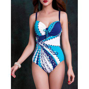 Fashionable Women's Strappy Cut Out Striped One-Piece Swimsuit