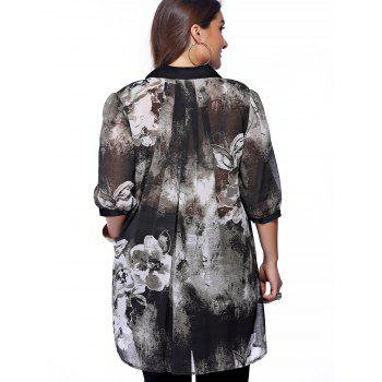 Plus Size Brief Ink Painting Buttoned Blouse - BLACK BLACK
