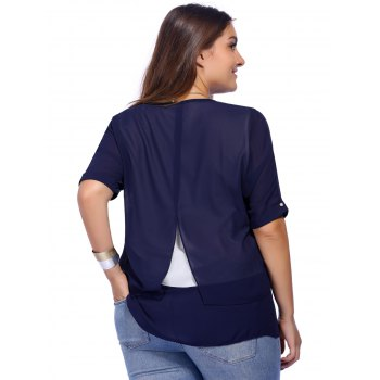 Chic Plus Size Back Slit Pure Color Women's Blouse - 5XL 5XL