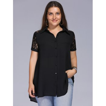 Lace Trim Plus Size Tunic Blouse - BLACK BLACK