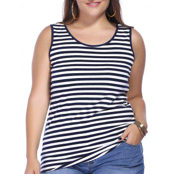 Chic Plus Size Striped Scoop Neck Women's Tank Top - BLUE AND WHITE BLUE/WHITE