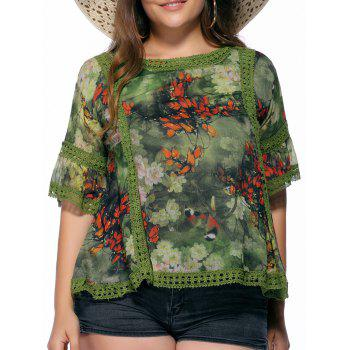 Chic Plus Size Floral Print Flare Sleeve Women's Blouse