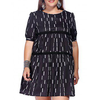 Trendy Plus Size Hollow Out A-Line Printed Women's Dress