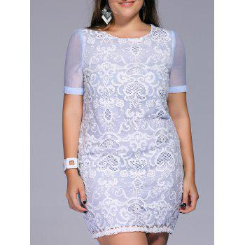 Sweet Plus Size Lace Patchwork Embroidered Women's Dress