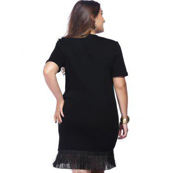 Chic Plus Size Printed Fringed Women's Dress - BLACK 4XL