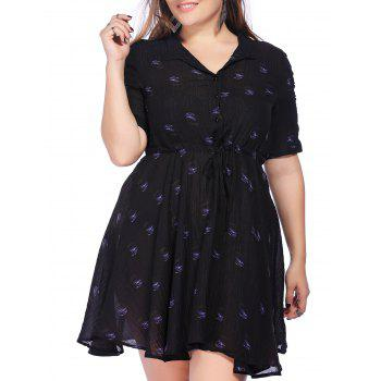 Chic Plus Size Polka Dot Print Tie Front Women's Dress