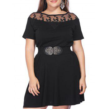 Chic Plus Size Pure Color See-Through Women's Dress