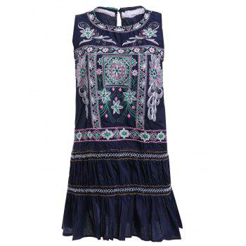 Ethnic Style Embroidered Sleeveless Mini Dress