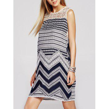 Refreshing Geometric Print Lace Spliced Sleeveless Dress For Women
