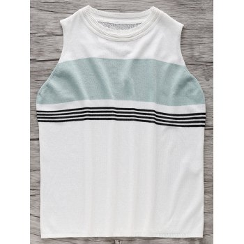 Jewel Neck Colorful Strip Ribbed Knit Tank Top For Women