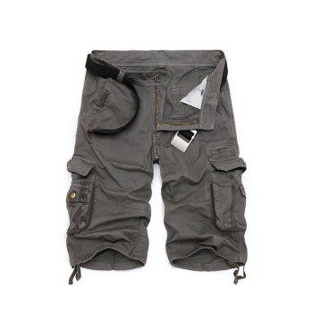 Cotton Blends Multi-Pockets Zipper Fly Straight Leg Men's Cargo Shorts
