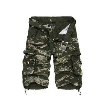 Buy Camouflage Cotton Blends Multi-Pockets Zipper Fly Straight Leg Men's Cargo Shorts GREEN
