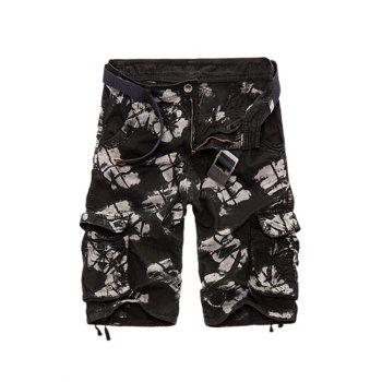Camouflage Cotton Blends Multi-Pockets Zipper Fly Straight Leg Men's Cargo Shorts