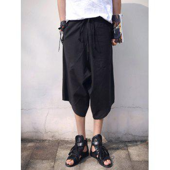 Solid Color Irregular Lace-Up Low-Slung Crotch Men's Capri Pants