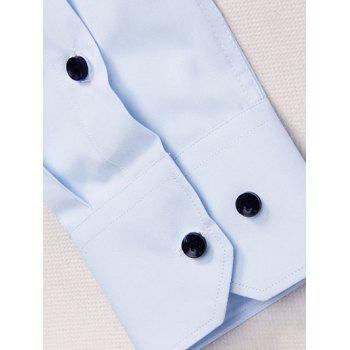 Turn-Down Collar Long Sleeve Slimming Solid Color Men's Shirt - BLUE 2XL