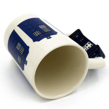 Hot 3D Cartoon Police Station Shape Handle Coffee Cup Ceramic Mug - OFF WHITE