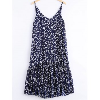 Fashionable Printing V-Neck Spaghetti Strap Flounce Dress For Women