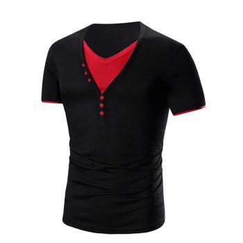 Men's V Neck Faux Twinset Short Sleeve T-Shirt