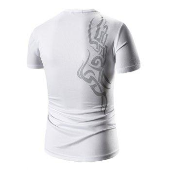 Men's Round Neck Print Short Sleeve T-Shirt - WHITE M