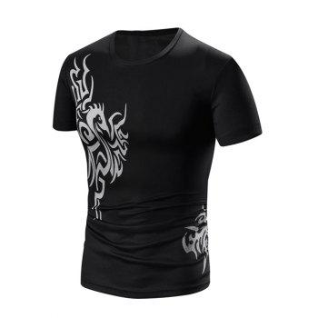Men's Round Neck Print Short Sleeve T-Shirt